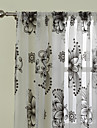 (Two Panels)Modern Fancy Abstract Blossoms Flocking Sheer Curtain