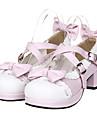 Rosa och vit Bowknot Sweet Lolita PU läder 4,5 cm högklackade skor