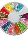 12-cavite de couleur mixte forme affectueuse de coeur d\'etoile Decorations Nail Art