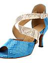 Chaussures de danse (Bleu Gros talon - Suede - Danse latine/Salle de bal