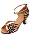Kvinnors Leopard Satin & PU Ankle Strap Latin Dansskor Sandaler