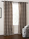 modern två paneler pläd / check brun sovrum bomull panelgardiner draperier