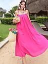 Women\'s Beach Loose Dress,Solid Strap Maxi Sleeveless Pink All Seasons