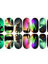 12st Färgglada Aurora och älg Luminous nagel konst Stickers