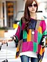 Women\'s Summer Loose Printing Bat Sleeve Bohemia Chiffon Shirt (Lining Vest Not Included)
