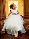 A-line/Princess Tea-length Flower Girl Dress - Organza Sleeveless