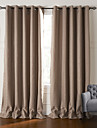 Neoclassical Two Panels Stripe Brown Living Room Polyester Blackout Curtains Drapes