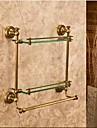 Badrumshylla Antik brons Väggmonterad 40*12*40cm(15.74*4.72*15.74 tum) Mässing / Glas Antik