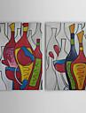 met de hand geschilderd abstract olieverfschilderij met gestrekte frame - set van 2
