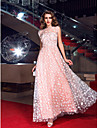 hjemkomst formell kveld / prom / militaer ball kjole - perle rosa pluss stoerrelser a-linje juvel fotsid tyll