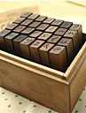 Trä Frimärken 28 alfabetet märker gemena Antik trä stämpel