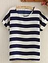 blanco / azul marino blusa azul, manga corta cuello redondo lindo rayas de las mujeres