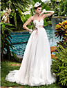 A-line Maternity Wedding Dress - Ivory Sweep/Brush Train Sweetheart Tulle/Lace