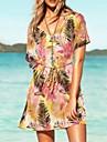 Women\'s Print Multi-color Dress , Beach Deep V Short Sleeve