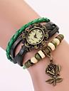c & d äkta läder vintage klocka, ros blomma hänge armband armbandsur xk-108
