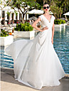 Sheath/Column Plus Sizes Wedding Dress - Ivory Sweep/Brush Train V-neck Georgette