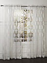 Country Two Panels Floral  Botanical White Bedroom Polyester Sheer Curtains Shades