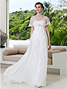 Lanting Bride® A-line Petite / Plus Sizes Wedding Dress - Chic & Modern Wedding Dresses With Wrap Sweep / Brush Train V-neckTulle /