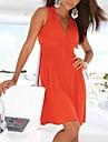 De las mujeres Corte Ancho Vestido Playa Un Color Hasta la Rodilla Escote en V Profunda Viscosilla / Mezclas de Algodon