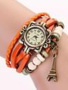 c & d äkta läder vintage klocka, tornet hängande armband armbandsur xk-99