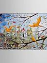 iarts®hand målad oljemålning landskap fåglar i träden med sträckt ram