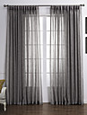 Country Two Panels Solid Grey Living Room Linen Polyester Blend Sheer Curtains Shades
