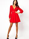 Women\'s V Neck  Backless Long Sleeve Chiffon Dress