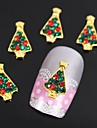 10pcs golden arbres de Noel 3D strass alliage nail art decoration