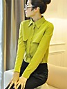 Damen Solide Hemd - Polyester Langarm