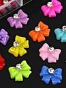 100st mix färg harts bowknot med strass tillbehör som inte ingår box 3d nail art dekoration