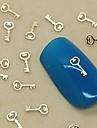 200st berlock nyckel design gyllene metall skiva nagel konst dekoration