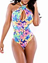 Women\'s Halter One-pieces , Floral Wireless/Padless Bra Others Multi-color