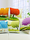 Set of 5 Multi-colored Trees Cotton/Linen Decorative Pillow Cover