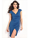 Dames Blue ruches Wrap Midi Dress