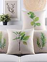 Set of 4 Fresh Leaves Cotton/Linen Decorative Pillow Cover,