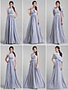 Floor-length Georgette Bridesmaid Dress - Convertible Dress A-line Plus Size / Petite with Sash / Ribbon / Criss Cross / Crystal Brooch