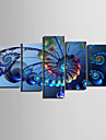 Canvas Set of 5 Ferris Wheel Modern Blue Still Life Stretched Canvas Print Ready to Hang