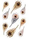 1pcs fjädrar metalliskt guld och silver tatuering klistermärken tillfälliga tatueringar