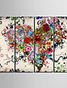 canvas Set Abstrato Floral/Botanico Classico Moderno,4 Paineis Vertical Impressao artistica Decoracao de Parede For Decoracao para casa