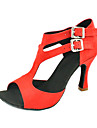 Customizable Women\'s Dance Shoes Latin Leatherette Customized Heel Black/Yellow/Red