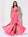 Lanting Bride® Floor-length Chiffon Bridesmaid Dress Sheath / Column One Shoulder Plus Size / Petite with Criss Cross / Ruching