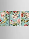 toile tendue oiseaux imprime animal vintage et ensemble floral de 3 1301-0231