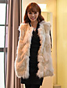 Sleeveless Collarless Artifical Rabbit And Fox Fur Casual/Office/Party Occasion Jacket