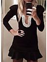 Women\s Puff Sleeve Pearl U-neck Slim Mini Peplum Dress
