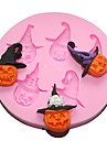 Halloween pumpa silikon tårta mögel fondant choklad mögel 8 * 8 * 1 cm (slumpvis färg)