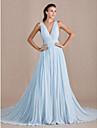 A-Linie V-Ausschnitt Pinsel Schleppe Georgette Formeller Abend Kleid mit Seitlich drapiert durch TS Couture®