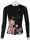 ILPALADINO Maillot de Cyclisme Femme Manches longues Velo Maillot Hauts/Tops Sechage rapide Respirable 100 % Polyester Floral / Botanique