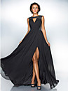 TS Couture® Formal Evening / Military Ball Dress - Black Plus Sizes / Petite A-line / Princess Jewel Sweep/Brush Train Chiffon / Sequined