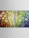 Hand-Painted Abstract Horizontal Two Panels Canvas Oil Painting For Home Decoration