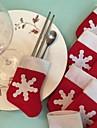 6st / set jul snö strumpa bestick porslin hållare dekoration